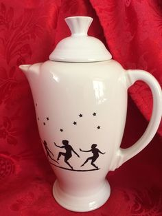 Fiesta® White Mystique Coffee Server with Lid decorated with silhouetted figures of dancing ladies and stars. Made exclusively for Mega China by Homer Laughlin China Company | eBay