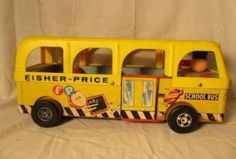 1962 Vintage Fisher Price Pull Along School Bus model # 990