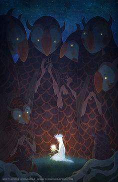 [Illustration by Justin Hernandez. 11 by 17 inch, www.glowingraptor.com]
