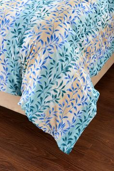 5pc Floral Beige Blue Aqua Duvet Cover Set Style # 1034 - Cherry Hill Collection -Full / Queen