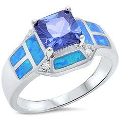 .925 Sterling Silver Princess Cut Simulated Tanzanite, Blue Opal