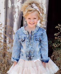 Loving this Blue Pearl-Trim Denim Jacket - Girls on #zulily! #zulilyfinds