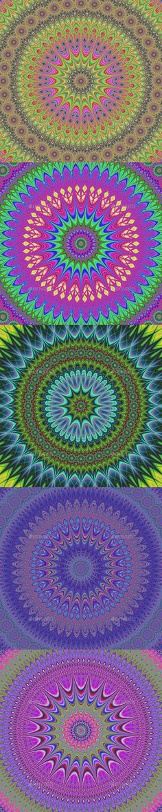 5 high resolution Fractal Mandala Backgrounds - Abstract Backgrounds