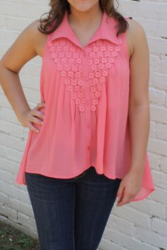 Pretty in Coral Tank Blouse
