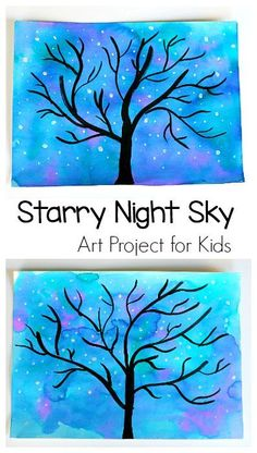 Starry Night Sky Art Project for Kids: Use watercolors to make this nighttime star and tree scene. Perfect for preschool, kindergarten and up! (Can also be transformed into a winter tree.) ~ BuggyandBuddy.com #artforkids #artprojects #processart #winterartforkids #winterart #craftsforkids #kidscrafts #paintingwithkids #elementaryart