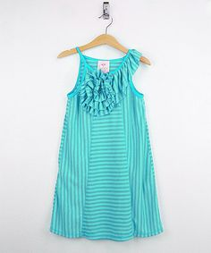 Look at this Freckles + Kitty Jade Ruffle Stripe Shift Dress - Toddler & Girls on #zulily today!