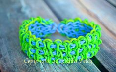 Rainbow Loom bracelet-rubber bands-green, neon green and ocean blue bands