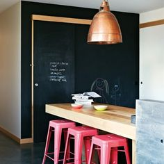 Love industrial style but want to make it more family-friendly? The mix of bright pink, copper and chalkboard make for a stylish yet fun scheme