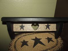 Primitive Crackle Small Wood Shelf ~ Black Stars ~ Country Decor