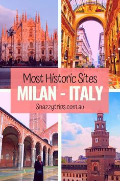 Going to Milan, Italy? You must visit Milan's most historic sites, 4 fascinating places - Duomo, Galleria Vittorio Emmanuele II, Sant'Ambrogio Church and Sforzesco Castle. As Roma, European Destination, European Travel, Italy Travel Tips, Travel Destinations, Travel Europe, Positano, Amalfi, King Of Italy