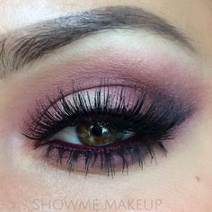"""showmemakeup: """" I created this Cranberry coloured eye look today and I paired it with an Aubergine dark lip. To get the look; I used 'Soft Ochre' paint pot, by MAC, over the eyelid. This neutralises..."""