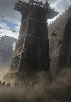 Reinforced Siege Tower, an art print by Noah Bradley Fantasy Battle, Fantasy Rpg, Medieval Fantasy, Fantasy Artwork, Fantasy World, Dark Fantasy, Witcher Art, The Witcher, Valhalla