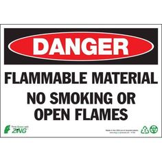 Zing Eco Safety Sign, Danger Flammable Material, 7Hx10W, Recycled Polystyrene Self Adhesive, Multicolor
