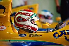 Nelson Piquet e Michael Schumacher Benetton Ford 1991 Racing Helmets, F1 Racing, Drag Racing, Gp F1, Formula 1 Car, Michael Schumacher, Ferrari F1, F1 Drivers, Indy Cars