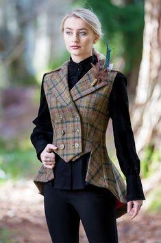 Lady Mary Waistcoat (Glencoe Tweed) – Great Scot (Scotland) Ltd Lady Mary, Steampunk Costume, Steampunk Fashion, Steampunk Vest, Dandy Look, Tartan, Plaid, Vestidos Vintage, Mode Vintage