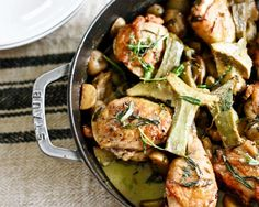 7 one pot meals __Braised Chicken With Artichokes, Leeks, and Tarragon