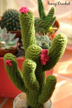 Fancy Crochet: Cactus in barattolo Crochet Cactus, Crochet Leaves, Cute Crochet, Crochet Flower Patterns, Crochet Toys Patterns, Crochet Flowers, Cactus Flower, Cactus Plants, Cactus Craft