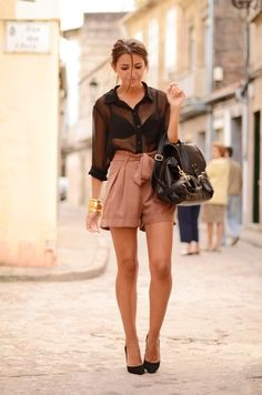 sheer button down blouse with paper bag shorts