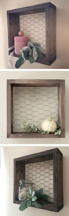 Perfect shelf to fit in with my rustic farmhouse decor! Chicken Wire & Wood Shelf Farmhouse Decor Farmhouse Shelf Wall Square Box by margret Rustic Farmhouse Decor, Country Decor, Rustic Decor, Rustic Kitchen, Red Farmhouse, Country Style, Kitchen Decor, Kitchen Wall Decorations, Rustic Wood Crafts