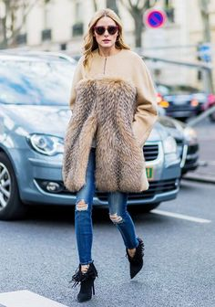 camel coat with fur#jeans