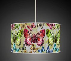 """Colourfull Butterfly Green Purple Blue Handmade Giclee Style Printed Fabric Lamp Drum Lampshade Floor Ceiling Pendant Light Shade 655 (30cm (12"""")) BeNeLux http://www.amazon.co.uk/dp/B00YS8VBZS/ref=cm_sw_r_pi_dp_GyRCwb0ZXJQ6S"""