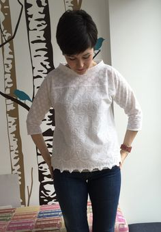 This is the Pan top from the IAmPatterns Goddess collection. It's made from two beautiful broderie anglaises bought on a trip to Rome. I Am Patterns, How To Make, How To Wear, Sewing, Lace, Tops, Clothing, Diy, Stuff To Buy