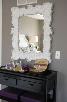 dressing table and how GORGEOUS is that mirror? LOVE