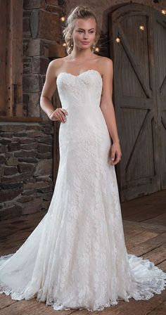 A-line Wedding Dresses : The perfect amount of playful details are in this slim A-line gown with sweethea