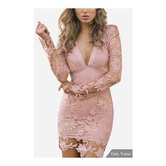 Yoins Pink Sexy V-neck Hollow Design Backless Self-tie Lace Dress ($31) ❤ liked on Polyvore featuring dresses, sexy mini dress, sexy cocktail dresses, long sleeve mini dress, sexy lace dresses and long sleeve cocktail dresses