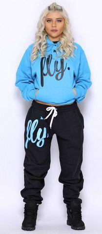 FLY. Cali Blue Hoodie/Black Pants Sweatsuit (UNISEX FIT)