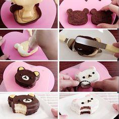 How to make cute rilakkuma cakes Cute Desserts, Dessert Recipes, Rilakkuma Cake, Mini Cakes, Cupcake Cakes, Kawaii Cooking, Cute Baking, Kawaii Dessert, Bento Recipes