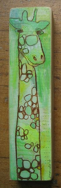 Angela Anderson Art Blog...giraffes on a wood board:  paint, oil pastel, colored pencil, etc...