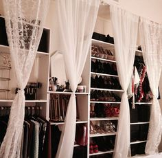 DIY closet with bookcases...yes, something like this