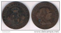 Espagne - 5 centimos de escudo - Isabel II KM# 635 1867  4 pointed star  VF/TTB  HIGH QUALITY CHEAP