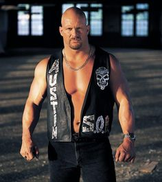 """It's time to celebrate the biggest mudhole stomper in WWE history, """"Stone Cold"""" Steve Austin! Wwe Steve Austin, Austin Wwe, Wwe Lucha, Attitude Era, Black Leather Vest, Leather Jackets, Wrestling Stars, Wrestling Divas, Stone Cold Steve"""