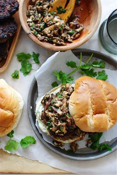 Asian Beef Burgers with a Shiitake Sauté by bevcooks #Burgers #Beef #Shitake