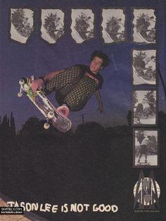 old school SMA skateboard ad featuring Jason Lee