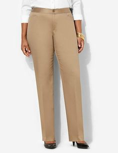 Crisp and casual cotton sateen pant is a wear-with-everything piece you need in your wardrobe. Matches perfectly with our Cotton Sateen Jacket for polished summer suiting. Elastic stretch on sides of waistband. Front waist pockets. Zip opening with button closure. Straight leg. Catherines pants are specifically designed with the plus size woman in mind.  catherines.com