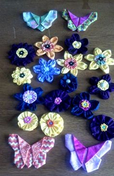 3D flowers and butterflies made for a quilt guild project.