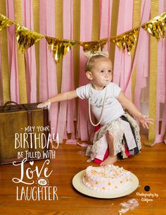 Grow with me cards Cake smash session First birthday indoor studio