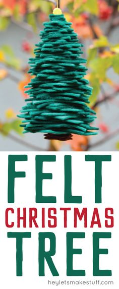 A stacked Felt Christmas Tree is a fun way to use up scraps to make an easy DIY Christmas ornament.