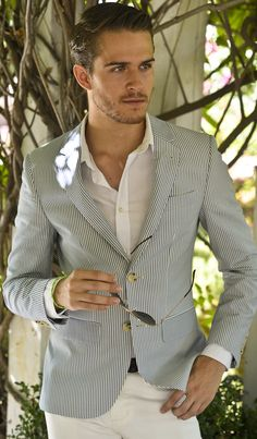 Seersucker Stripe Jacket, and Well Groomed Hair. Men's Spring Summer Fashion.