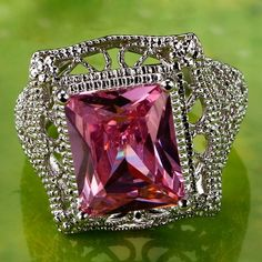 Brand:lingmei ; Material:Stone; Style:Fashion; Metal:Silver Main Stone:Pink Topaz; Stone Size: 13mm*