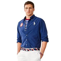 Ryan Lochte in Ralph Lauren on the Ralph Lauren site where you can buy the oxford shirt that he's wearing. I DON'T MIND IT =)!!!!!!!!!!!!!  Made in USA | Rio 2016 Olympic Games | Ralph Lauren