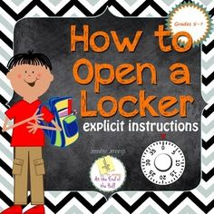 One page activity with explicit directions on How to Open a Locker! A FREE resource! Perfect for students beginning middle school or a school with lockers.*****************************************************************************If you like this activity, be sure to check out my Middle School Survival Guide!