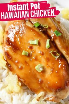 A quick and easy Instant Pot chicken recipe the whole family will love: Instant Pot Hawaiian Chicken! This sweet and savory pineapple chicken recipe tastes better than take-out! Sweet Hawaiian Chicken Recipe, Chicken Breast Instant Pot Recipes, Pineapple Chicken Recipes, Chicken Breast Recipes Healthy, Instant Pot Dinner Recipes, Easy Chicken Recipes, Hawiian Chicken, Yummy Recipes, Instant Pot Pressure Cooker