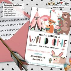 Wild one Girl First Birthday Party invitations DIY Tribal Invitations Woodland printable Birthday invite adventure boho teepee Invitations - Personalized Invite card DIY party printables will save you time and money while making your planning a snap!