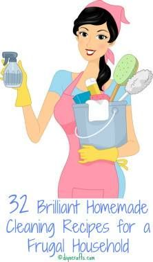 32 Brilliant Homemade Cleaning Recipes for a Frugal Household. This is GREAT !! Especially for a housewive :)
