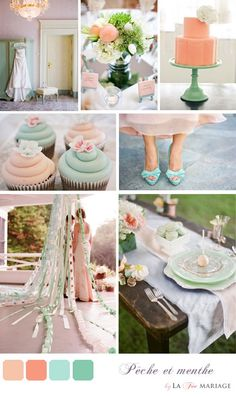 light pink, coral, light green, turquoise blue @Gretchen Schaefer Norman r you looking for pink or peach? It's great to have many hues but i think you should pick three defined (or definite) colors, to make sure everything goes together!