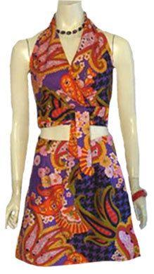 1970s Vintage Halter Top Mini Skirt Wild Paisley Butterflies like the checks in the print